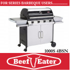 BeefEater BBQ Discovery Series 4 Burner Stainless Steel Barbecue 1000S-4BSb BBQ deluxe Cart Barbeque & Side Burners . TGC-S47240