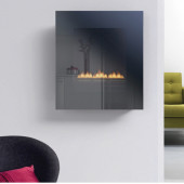 Gas Fire Wall Mounted Flueless Gas Fire Ekofire TGC15010gls silver steel mirror glass.