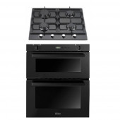 Gas Oven & Hob Pack - SGB700 Black Built In Gas Oven & 4 Burner Black Glass Gas Hob