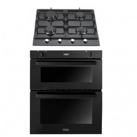 Gas Oven & Hob Pack - SGB700 Black Built In Gas Oven & 4 Burner Black Glass Gas Hob