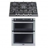 Gas Oven & Hob Pack - SGB700 Stainless Steel Built In Gas Oven & 5 Burner Black Glass Gas Hob