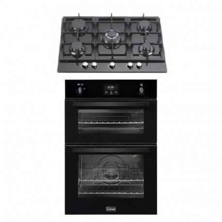 Gas Oven & Hob Pack - STBI900 Black Built-In Gas Oven & 5 Burner Black Glass Gas Hob