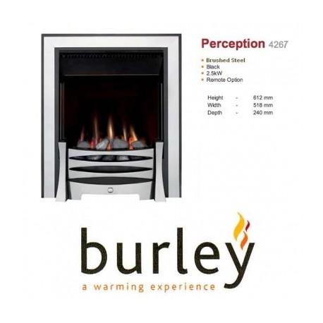 Flueless Gas Fire Burley Perception 4260b,4264BK,4267S, Inset Flueless Gas Fire Easy Slide Control (Stainless Steel)