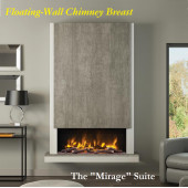 Pryzm Mirage Floating Wall Electric Chimney Breast Fireplace