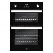 Gas Oven Belling 90cm Built In Gas Double Oven in Black With Integrated Electric Grill.