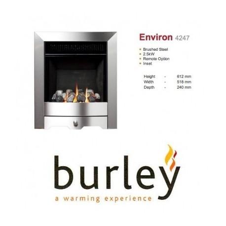 Flueless Gas Fire Burley Environ Inset Flueless Gas Fire Stainless Steel Easy Slide Control