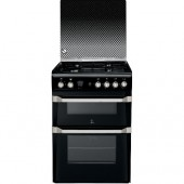Double Gas Oven with Gas Grill Indesit TGCID60G2 Cooker in Black