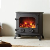Electric Stove Exe Dartmoor Cast Iron Electric flame effect stove with 2kw remote controlled heating