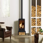 Gas Stove Gazco Gas Vogue Midi T & Log Bench Balanced Flue, High Efficiency (80%) 3 Sided Gas Stove.