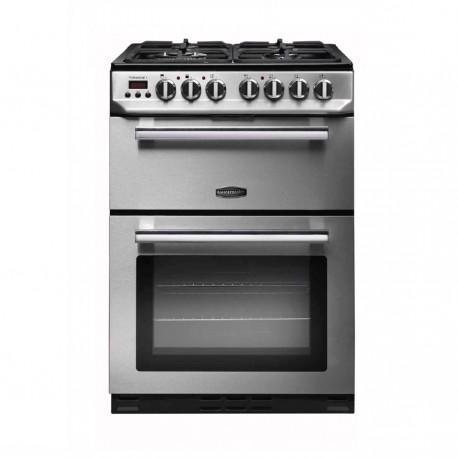 Gas Cooker Gas Rangemaster Professional+ Steel 60cm Double Oven Gas Cooker (LPG Convertible)