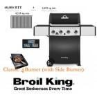 Broil King Gas BBQ Classic 430 American Gas Barbeque 4 Burner Gas BBQ with side table and side Burner