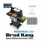 Broil King Gas BBQ Monarch 340 American Gas Barbeque LPG Bottled BBQ Gas 3 Gas Burner Barbeque with Side Burner