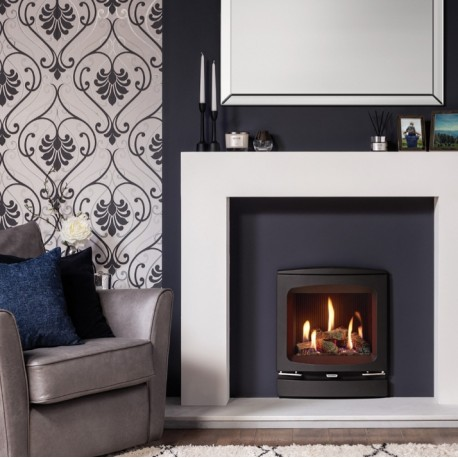 Gazco Logic HE CF Log Gas Fire with Vogue Inset Stove Frame