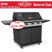 Beefeater Natural Gas BBQ Discovery ARES 3000 burner Black Enamel Barbecue deluxe Cart Barbeque & Side Burner . TGC3000NGBLK