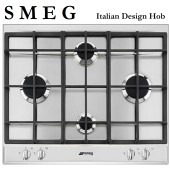 S M E G Italian 4 Burner Gas Hob TGCP260XGH 60cm Gas Hob with Cast Iron Pan Supports, Stainless Steel