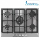 Gas hob 5 burner stainless steel , Culinary TGCFFJ70 5 burner gas hob with cast iron pan supports,and wok burner