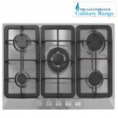 Culinary Gas hob 5 burner stainless steel , Culinary cast iron , wok burner