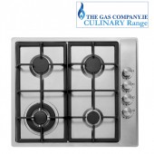 Gas hob 4 burner stainless steel , Culinary cast iron gas hob in stainless steel,4 burner with wok burner
