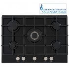 Black Glass Gas Hob TGCUBGHFF700GG CULINARY 5 Burner Black Gas Hob Black Glass Finish. 70 cm.