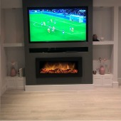 """Dimplex """"Black Framed"""" SP16LED Wall Mounted or Semi Recessed Electric Log Effect Electric Fire . Dark & Bright"""