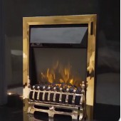 Brass Remote Controlled Electric Fire LED EKO Hortonshire Brass LED 2Kw . Coal.