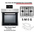 Bottled Gas Oven and Hob Pack, LPG Convertible, 5 Function Fan Assisted Stainless Steel Built In Gas Oven -CDA120G-SMEGP260XH