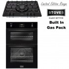 Stoves Black Oven & Hob Package STBI900BLK -SGH700 Built In Black Double Gas Oven With Electric Grill & 5 Burner Hob.