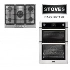 Gas Oven & Hob Pack Stainless Steel Stoves STBI900STA Built In Gas Double Oven With UBGGHDFFJ7 5-Ring Hob.