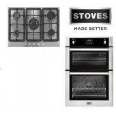 Gas Oven & Hob Pack - STBI900 Stainless Built In Gas Oven & 5 Burner Black Glass Gas Hob