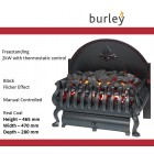 """Electric Inset Basket Fire Burley 18"""" Cottesmore TGC224 in Black Cast 2kw Heater"""