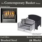 The Contemporary Gas Fire & Basket ,full coal fuel bed, with full remote control - 515mm (w)* 395mm (h) * 300 mm (d)