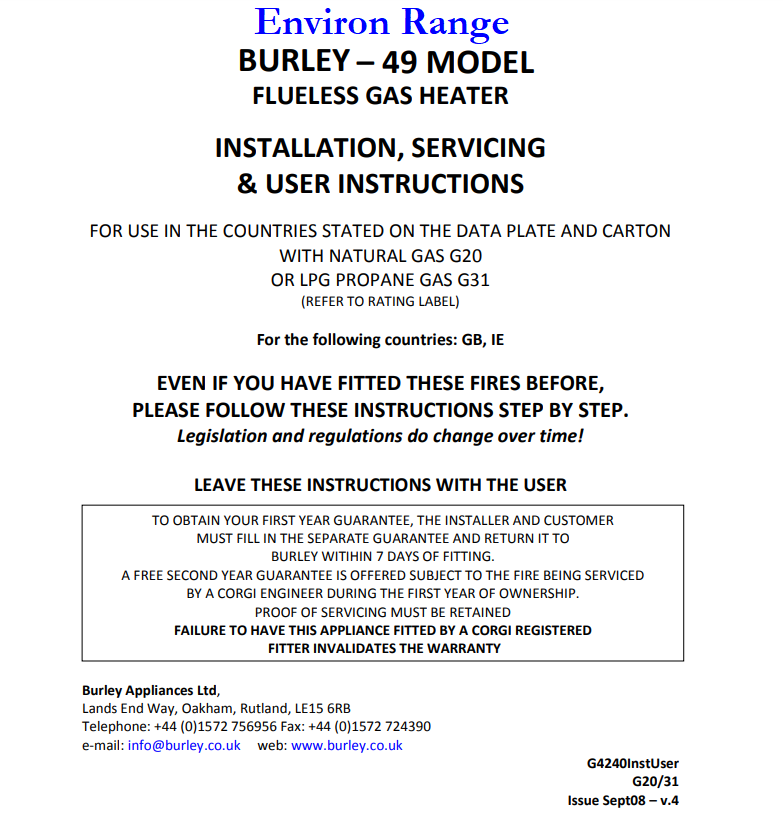 Burley Environ Fluesless Inset Fire Fitting Instructions
