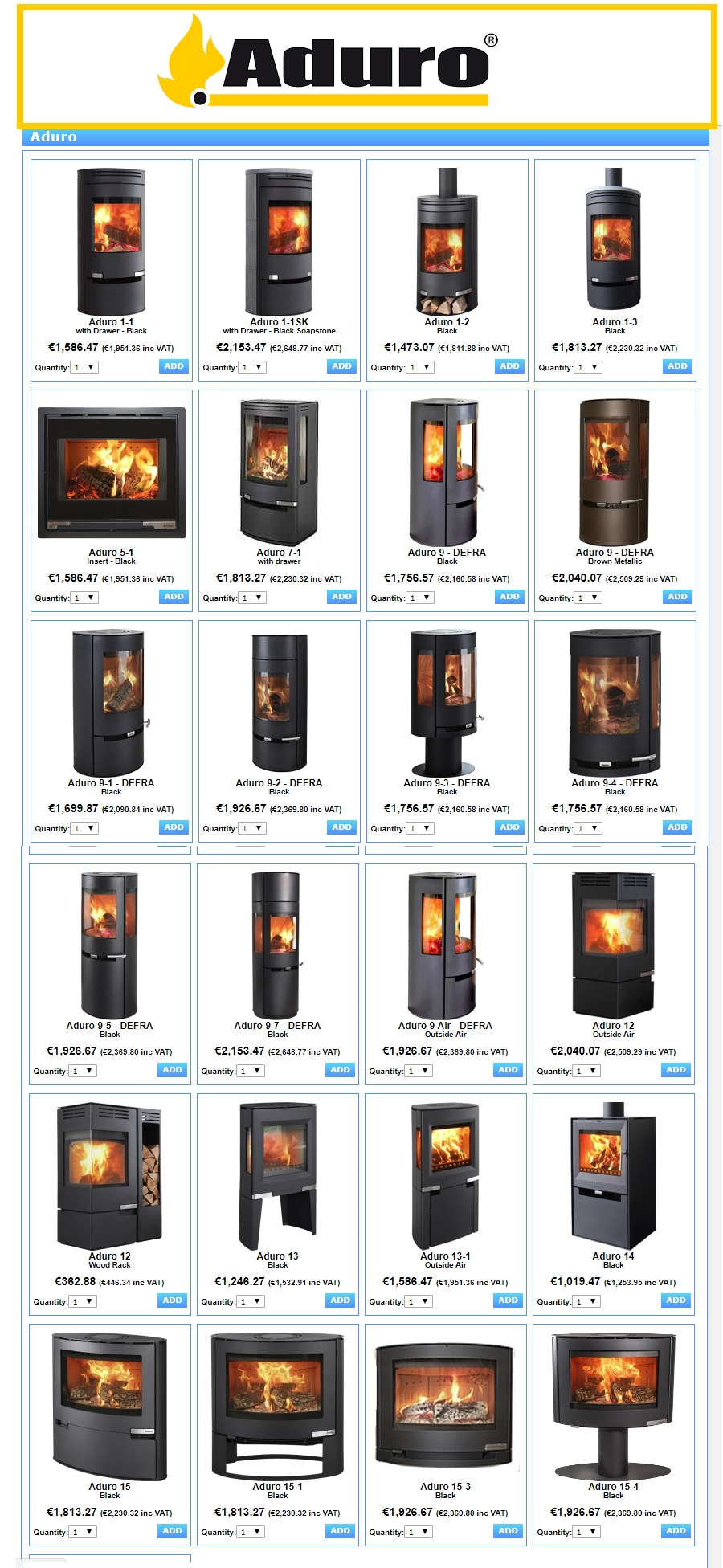 Auduro Wood Stoves at TheGasCompany.ie