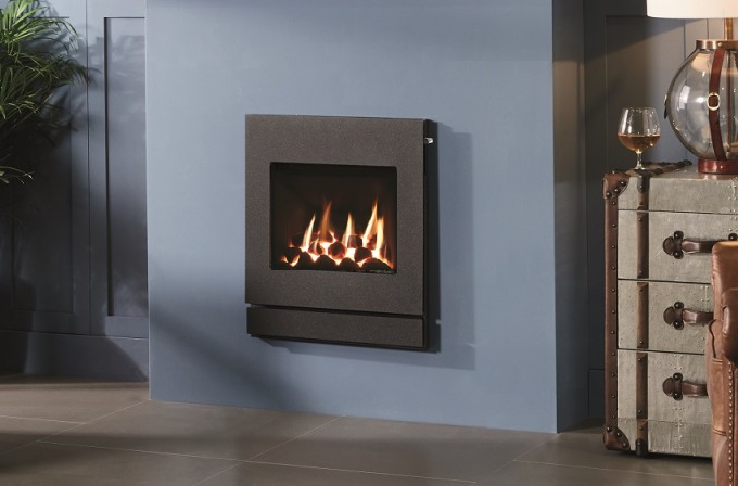 High Efficiency Hole in the Wall Gas Fire, coal effect, Designio 2 Graphite